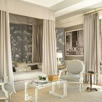 Mary McDonald - living rooms - haute couture, lucite coffee table, chinoiserie living room, daybed, daybed canopy, canopied daybed, chinoiserie floor screen,