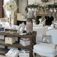 miscellaneous - Winter Wonderland, white, silver, glam, holiday decor.,  HGTV &#034;Celebrity Christmas&#034; Special Living Room.  White and Silver holiday