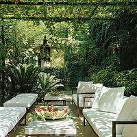 decks/patios - deck, patio, pergola, garden pergola,  green outdoor living area with sleek furniture