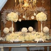 "miscellaneous - Holiday, Christmas, white roses, feathers, white, silver, glam,  HGTV ""Celebrity Christmas"" Special Centerpiece.  All white and"