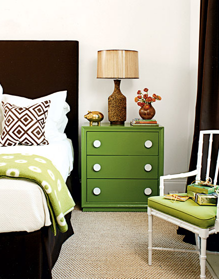 My Home Ideas - bedrooms - David Hicks La Fiorentina Fabric Pillow, kelly green, nightstand, chocolate brown, velvet, headboard, bed skirt, brown, lattice, pillow, green, throw, cork, lamp, white, faux bamboo, chair, green, cushion, chocolate brown, silk, drapes,