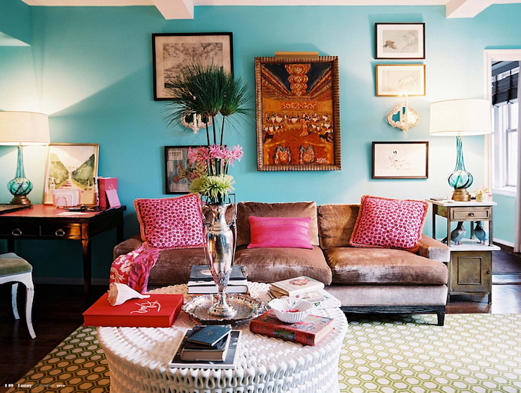 Lonny Magazine - living rooms - Benjamin Moore - Dolphins Cove - turquoise walls, turquoise paint, turquoise paint color, turquoise room, turquoise blue walls, turquoise blue paint, turquoise blue paint color, turquoise blue room, pipa cocktail table, velvet sofa,
