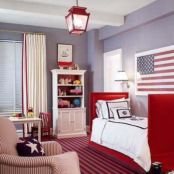 Ashley Whittaker Design - boy's rooms - red white and blue boys room, red white and blue boys bedroom, red white and blue room, red white and blue bedroom, red bed, twin bed, twin red bed, red lantern, kids bookcase, striped chair, white and red chair, white and red striped chair,