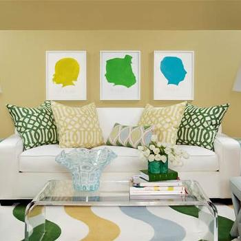 Acrylic Coffee Table, Contemporary, Living Room, Sherwin Williams Wheatgrass, Tobi Fairley