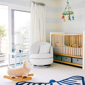 Coastal Living - nurseries - nursery zebra rug, navy zebra rug, blue zebra rug, blabla mobile, two tone crib striped walls, striped nursery, striped nursery walls, white and blue striped walls, Jonathan Adler Zebra Rug, Big Jungle Mobile,