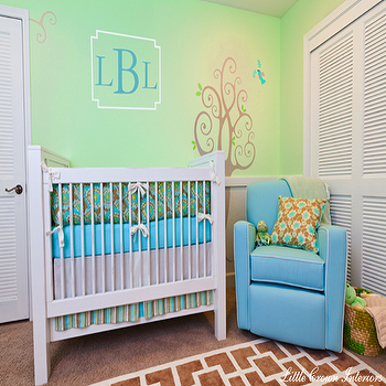 Little Crown Interiors - nurseries - gender neutral nursery, nursery sofa, nursery couch, armless sofa, sofa in nursery, chain link rug, turquoise nursery glider, turquoise blue nursery glider, whitewashed mirror, tree mural nursery mural, Labyrinth Kids Rug, Monaco Adult Glider in Azure,