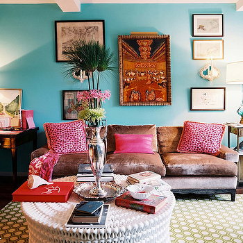 Lonny Magazine - living rooms - turquoise walls, turquoise paint, turquoise paint color, turquoise room, turquoise blue walls, turquoise blue paint, turquoise blue paint color, turquoise blue room, pipa cocktail table, velvet sofa,