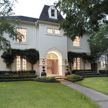 Cote de Texas - home exteriors - french home, french home exterior, french chateau,  Gorgeous home exterior with gray shingles and black lanterns