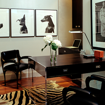 Blair Gordon Design - dens/libraries/offices - photo gallery, lucite desk, black lucite desk, zebra rug,  Contemporary modern black office design