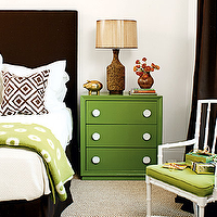 My Home Ideas - bedrooms - kelly green, nightstand, chocolate brown, velvet, headboard, bed skirt, brown, lattice, pillow, green, throw, cork, lamp, white, faux bamboo, chair, green, cushion, chocolate brown, silk, drapes, David Hicks La Fiorentina Fabric Pillow,