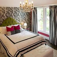 Niche Interiors - girl&#039;s rooms - hot pink, magenta, walls, white, black, damask, wallpaper, mirrored, nightstands, flokati, rug, white, black, silk, striped, drapes, black and white curtains, black and white drapes, black and white window panels, black and white drapery, Jet Set Storage Bench,