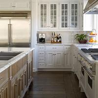 Phoebe Howard - kitchens - white, glass-front, kitchen, cabinets, white, subway tiles, backsplash, calcutta, marble, countertops, kitchen island, double sinks,