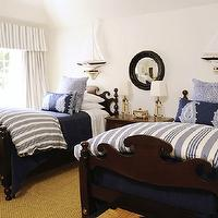 Phoebe Howard - boy's rooms - nautical, white, blue, striped, bedding, duvet, navy blue, throws, twin beds, sisal, rug, white, blue, striped, cornice box, drapes, black, porthole, mirror,