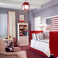 Ashley Whittaker Design - boy&#039;s rooms - blue, walls, red, twin, bed, white, red, monogrammed, bedding, red, blue, striped, rug, red, lantern, pendant, red, white, striped, chair, white, cotton, drapes, red, ribbon trim, white, bookcase,