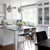 Brandon Barre Photography - kitchens - hicks pendant, super white granite, bianco hizhou tile, bianco hizhou, bianco hizhou backsplash, super white granite counters, super white granite countertops, Thomas O'Brien Hicks Pendant,