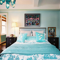 Lonny Magazine - bedrooms - blue, walls, turquoise, blue, toile, bedding, throw, pillows, headboard, black, nightstands, turquoise, blue, bottles, chandelier, turquoise headboard, turquoise blue headboard, turquoise upholstered headboard, turquoise blue upholstered headboard,
