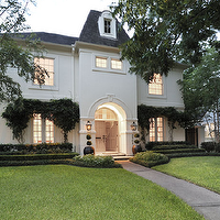 Cote de Texas - home exteriors - gray, shingles, black, lanterns, sconces,  Gorgeous home exterior with gray shingles and black lanterns sconces.