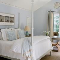 Phoebe Howard - bedrooms - gray, faux bamboo, canopy, bed, blue, pillows, throw, nightstands, sisal, rug, turquoise blue, lamps, gray, faux bamboo desk, blue, walls, ivory, blue, silk, drapes,