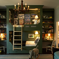 Kristen Panitch Interiors - boy's rooms - green, built-ins, bunk beds, desks, shelves, ladder, ivory, blue, striped, rug, ivory, blue, striped, silk, drapes, bunk bed ladders, removable bunk bed ladders, white bunk bed ladders, bunk beds, built in bunk beds, boys bunk beds, boys built in bunk beds, boys beds, green bunk beds, green built in bunk beds, hunter green boys beds, hunter green bunk beds,