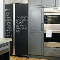 Style at Home - kitchens - chalkboard, kitchen chalkboard, kitchen chalkboard ideas, chalkboard kitchen, chalkboard in kitchen, chalkboard message board, kitchen chalkboard message board, chalkboard door, chalkboard refrigerator, chalkboard refrigerator doors, refrigerator chalkboard doors, charcoal gray cabinets, charcoal gray kitchen cabinets, grey countertops,
