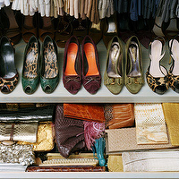 Annie Schlecter Photography - closets - shoe, rack, purse, bag, clutch, drawer,  Fantastic closet with shoe rack and bag purse clutch drawer!