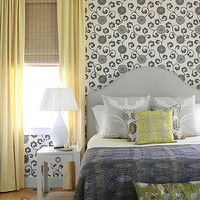 Tara Seawright - bedrooms - yellow, curtains, gray, floral, wallpaper, gray, headboard, gray, silk, pillows, blue, gray, throw, green, silk, floral, lumbar pillows, bamboo, roman shades, yellow and gray bedroom, gray and yellow bedroom, gray and yellow bedrooms, yellow and gray bedroom design, gray and yellow, yellow and gray,