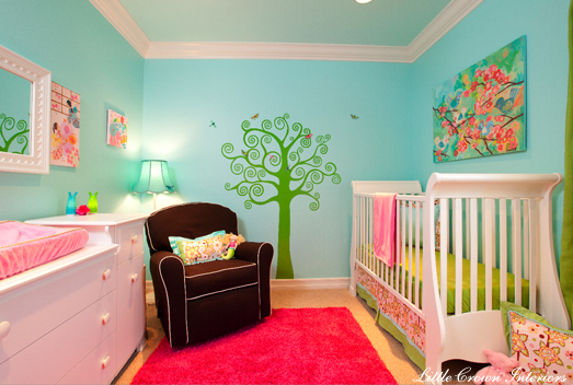 Little Crown Interiors - nurseries - gender neutral, chocolate, brown, glider, white, piping, turquoise, walls, red, flokati, rug, green, treel mural, tree wall mural, wall stencil, tree wall stencil, tree stencil for wall,