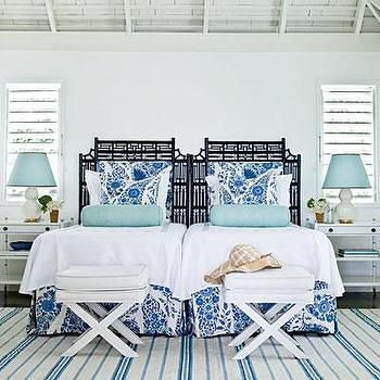 My Home Ideas - bedrooms - x bench, white x bench, faux croc bench, faux croc x bench, white faux croc bench, turquoise lamp  shades, turquoise blue lamp shades, turquoise blue lamp shades, turquoise bolster pillows, turquoise blue bolster pillow, black headboards, white and blue bedding, striped rug, white and blue striped rug, white double gourd lamps, white and blue bed skirts, white nightstands, white and blue bedroom, Faux White Crocodile Bench,