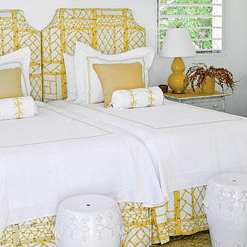 My Home Ideas - bedrooms - yellow headboard, bamboo headboard, yellow bamboo headboard, yellow bed skirt, white and yellow bedding, white garden stools, mustard yellow lamp, yellow gourd lamp, yellow double gourd lamp, white garden stools, bamboo nightstand, faux bamboo nightstand,