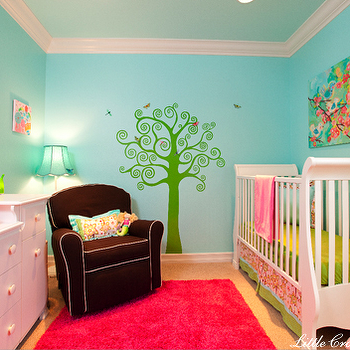 Little Crown Interiors - nurseries - tree mural, tree wall mural, wall stencil, tree wall stencil, tree stencil for wall, hot pink rug, chocolate brown glider, chocolate brown nursery glider, turquoise walls,
