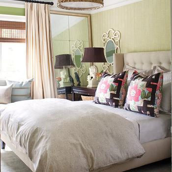 House & Home - bedrooms - beige tufted headboard, beige wingback headboard, green wall paneling, green paneled walls, basketweave drum pendant, greek key pillows, white foo dog lamp, foo dog lamp,