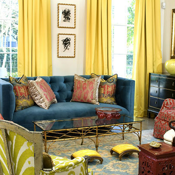 Yellow Drapes, Eclectic, living room, MMR Interiors
