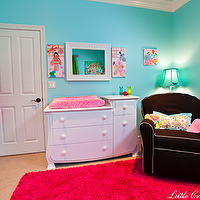 Little Crown Interiors - nurseries - hot pink rug, gender neutral nursery, turquoise walls, turquoise blue walls, dark brown glider, nursery glider, dark brown nursery glider, turquoise walls, turquoise blue walls, hanbok, korean hanbok, baby hanbok, Korean Hanbok,