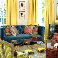 MMR Interiors - living rooms - bright, yellow, silk, drapes. blue, velvet, tufted, sofa, red, gray, chairs, lime green, chair, brass, coffee table, red, garden stool, black, vintage, chest, gold, blue, damask, rug, yellow curtains, yellow drapes, yellow window panels, yellow silk drapes, yellow silk curtains,