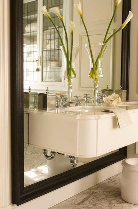 House & Home - bathrooms - floating sink, floating bathroom sink,  Julie Charbonneau- Contemporay wall-mounted sink with black beveled floor