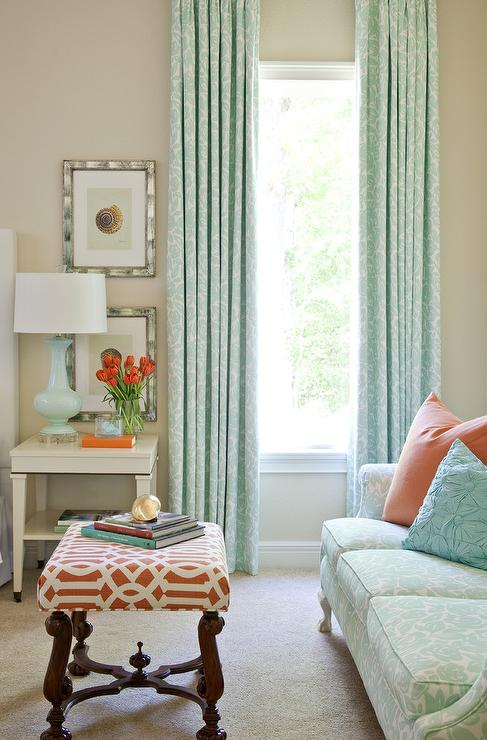 Tobi Fairley - living rooms - Kelly Wearstler Imperial Trellis Fabric - Mandarin, blue, floral, drapes, turquoise, blue, lamp, orange, turquoise, blue, pillow, tan, walls, white, table,