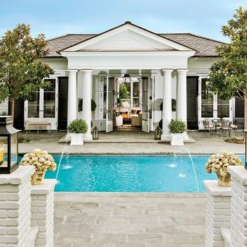 pools - Robe Lowe's pool, columns, greek columns,  Rob Lowe's Pool!  gorgeous pool, columns, french doors and black lanterns.
