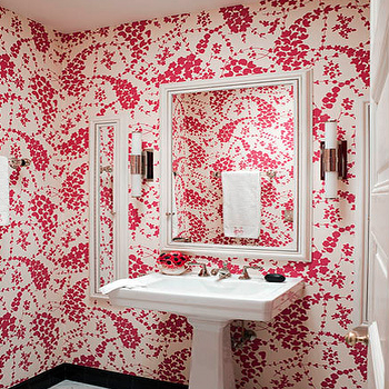 Jonathan Berger Interior Design - bathrooms - pink powder room, powder room, white and pink powder room, powder room wallpaper,  Pretty pink