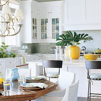 Peacock Cabinetry - kitchens - octagon table, octagon dining table, slipcovered dining chairs, white slipcovered dining chairs,  Light, bright