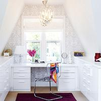 House & Home - dens/libraries/offices - built-in desk, attic office, ikea ghost chair, ghost chair ikea,  Cute, small attic office design with