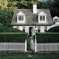 Douglas Friedman - home exteriors - cape cod, cottage, white, picket, fence, gray, shingles,  Adorable Cape Cod Cottage with gray shingles, white