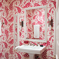 Jonathan Berger Interior Design - bathrooms - white, pink, wallpaper, white, pedestal, sink, white, mirror, white, mirrored, medicine cabinet, sconces, modern,