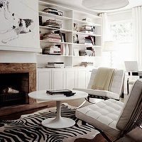 James Tse Photography - living rooms - zebra rug, black and white zebra rug, white and black zebra rug, zebra cowhide rug, saarinen coffee table, barcelona chairs, white barcelona chairs,