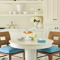 Thornton Designs - dining rooms - white, pedestal, dining table, woven, chairs, turquoise, blue, cushions, calcutta, marble, countertops, ivory, cabinets, shelves, beadboard,