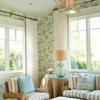 Thornton Designs - porches - blue, green, floral, wallpaper, recycled, turquoise, glass, lamp, linen, shade, seagrass, sofa, chair, ottomans, white, beige, striped, cushions, burlap, skirted, table, lantern,