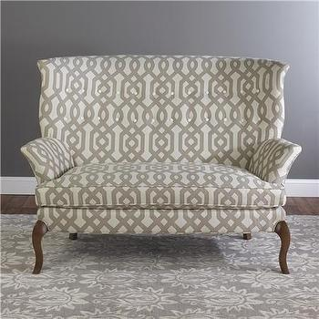 Seating - High Back Settee - Shades of Light - gray, trellis, upholstered, settee