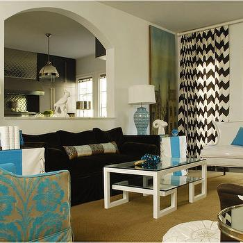 Caldwell Flake - living rooms - hevron curtains, chevron drapes, black and white curtains, black and white drapes, black and white chevron curtains, black and white chevron drapes, chevron window curtains, glass top coffee table, greek key coffee table,