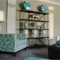Caldwell Flake - living rooms - turquoise, blue, vases, floral, chair, white, black, geometric, rug, black, leather, ottoman, white, sofa, gray, walls, industrial, bookcase, turquoise accents, living room with turquoise accents, laura beers paintings,