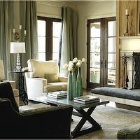 Caldwell Flake - living rooms - celadon, silk, drapes, accents, linen, chairs, charcoal gray, velvet, sofa, nailhead trim, rustic, gray, x, bench, table, french doors, limestone, fireplace, gray, black, plaid, bench,