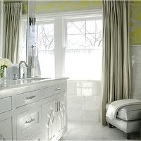 Caldwell Flake - bathrooms - marble tiles, metallic wallpaper, yellow and silver metallic wallpaper, yellow and gray bathroom, gray and yellow bathroom, yellow and gray, gray and yellow, platinum gray curtains,